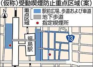 福島駅周辺、路上「禁煙」 7月条例施行、周知後...過料2000円