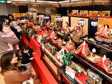 華やかなひな飾りを眺める家族連れ=8日午後1時52分、岐阜市鏡島精華、人形の松井