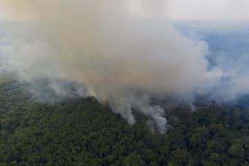 ブラジル・アマゾン地域の熱帯雨林の火災で立ち上る煙=2019年11月(AP=共同)