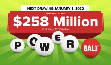The Powerball lottery drawing for Wednesday, Jan. 8, 2019 is worth an estimated $258 million. Check back later to see if anyone won the Powerball jackpot. (Powerball.com/)
