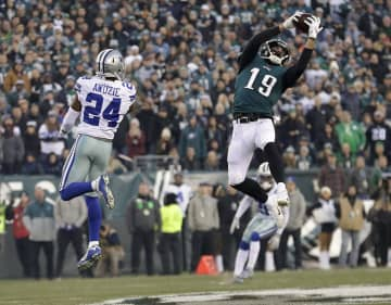Philadelphia Eagles wide receiver J.J. Arcega-Whiteside (19) makes a catch against the Dallas Cowboys on December 22, 2019, at Lincoln Financial Field in Philadelphia. - Yong Kim/The Philadelphia Inquirer/TNS