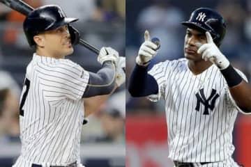 ヤンキースのジャンカルロ・スタントン(左)とミゲル・アンドゥハー【写真:Getty Images】