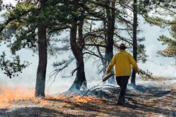 A member of the New Jersey Forest Fire Service works on a prescribed burn. (Photo courtesy of the New Jersey Department of Environmental Protection) (Photo courtesy of the New Jersey Department of Environmental Protection/)