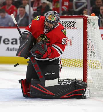 Chicago Blackhawks goaltender Corey Crawford makes a save against the Nashville Predators at the United Center in Chicago on Thursday, Jan. 9, 2020. The Predators won, 5-2. - Jonathan Daniel/Getty Images North America/TNS