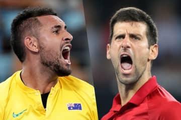 写真は「ATPカップ」でのキリオス(左)とジョコビッチ(右)