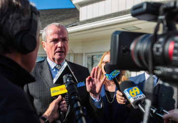 Gov. Phil Murphy takes questions from the media on Jan. 8, 2020, at the Family Guidance Center of Warren County in Washington Township. (Steve Novak | For lehighvalleylive.com/)