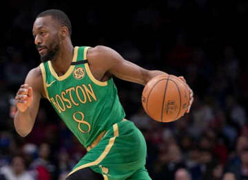 PHILADELPHIA, PA - JANUARY 09: Kemba Walker #8 of the Boston Celtics dribbles the ball against the Philadelphia 76ers in the first quarter at the Wells Fargo Center on January 9, 2020 in Philadelphia, Pennsylvania.