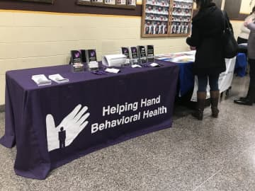 Helping Hands Behavioral Health was one of the organizations present at last nights presentation on Suicide and Mental Health. (Mackenzie Fitchett/)
