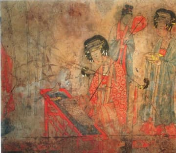 ※宝山遼墓の壁画「楊貴妃教鸚鵡頌経図」