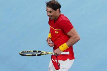 「ATPカップ」で喜びのあまりダンスするナダル