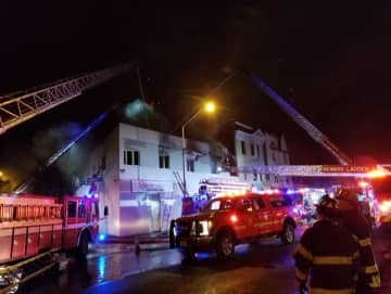 Three firefighters were injured battling a two-alarm fire in Newark on Friday night. (Provided by Newark Department of Public Safety /)