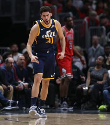Utah Jazz forward Georges Niang (31) celebrates after hitting a 3-pointer in the second half of a game against the Chicago Bulls at the United Center in Chicago on Thursday, January 2, 2020. - Chris Sweda/Chicago Tribune/TNS