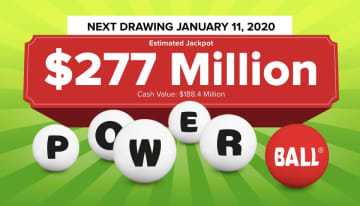 The Powerball lottery drawing for Saturday, Jan. 11, 2019 is worth an estimated $277 million. Check back later to see if anyone won the Powerball jackpot. (Powerball.com/)