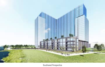 A rendering of the proposed 25-story tower in the Secaucus Meadowlands. Courtesy of Fraternity Meadows, LLC. (Fraternity Meadows, LLC/)