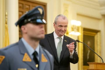 Gov. Phil Murphy delivers his second state budget address Tuesday at the Statehouse in Trenton. (Aristide Economopoulos | NJ Adva                    /)