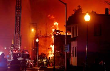 Firefighters battle a 7 alarm fire on East Man Street in Bound Brook, January, 12, 2020  (Ed Murray | NJ Advance Media for NJ.com/)