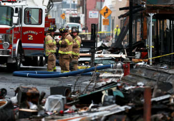 Firefighters at the scene of last nights massive fire on Main Street in Bound Brook, January, 13, 2020  (Ed Murray | NJ Advance Media for       /)