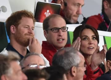The Duke and Duchess of Cambridge and Prince Harry watch the England V Wales game at the Rugby World Cup at Twickenham Stadium Featuring: Catherine, Prince Harry, Prince William Where: London, United Kingdom
