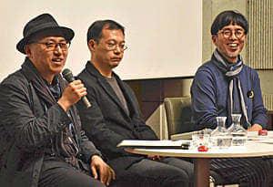座談会でものづくりの未来に意見を交わす(右から)鞍田准教授、分藤監督、春日さん