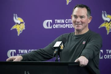 Mike Zimmer held a season-ending press briefing Monday morning at TCO Performance Center in Eagan, Minn. - Elizabeth Flores/Minneapolis Star Tribune/TNS