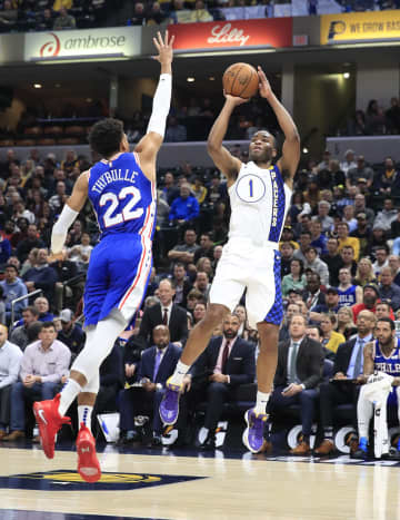 T.J. Warren #1 of the Indiana Pacers shoots the ball against the Philadelphia 76ers at Bankers Life Fieldhouse on Jan. 13, 2020 in Indianapolis, Ind. The Pacers won, 101-95. - Andy Lyons/Getty Images North America/TNS