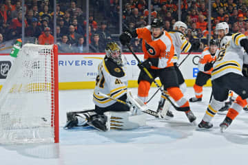 Connor Bunnaman #82 of the Philadelphia Flyers scores on Jaroslav Halak #41 of the Boston Bruins in the second period at Wells Fargo Center on Jan. 13, 2020 in Philadelphia, Pa. The Flyers won 6-5. - Drew Hallowell/Getty Images North America/TNS