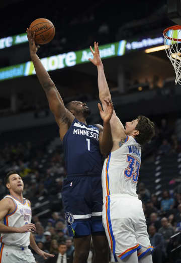 Minnesota Timberwolves forward Noah Vonleh (1) shoots over Oklahoma City Thunder forward Mike Muscala (33) in the first half Monday, Jan. 13, 2020 at Target Center in Minneapolis. - Jeff Wheeler/Minneapolis Star Tribune/TNS