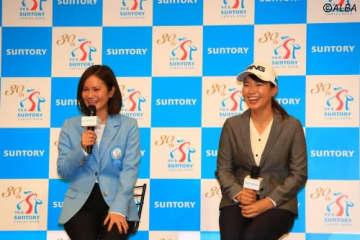 会見でトークセッションに臨んだ2人 その才能に宮里藍(左)もホレボレ(撮影:福田文平)