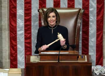 WASHINGTON, DC - DECEMBER 18: Speaker of the House Nancy Pelosi (D-CA) presides over Resolution 755 as the House of Representatives votes on the second article of impeachment of US President Donald Trump at in the House Chamber at the US...