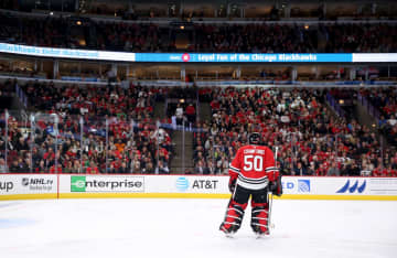 Blackhawks goaltender Corey Crawford takes a breather against the Coyotes on Oct. 18, 2018,\u00a0at the United Center. - Chris Sweda/Chicago Tribune/Chicago Tribune/TNS