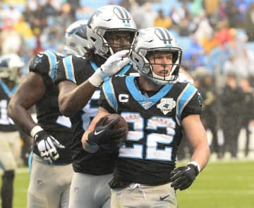Carolina Panthers running back Christian McCaffrey (22) celebrates after scoring a touchdown against the New Orleans Saints on December 29, 2019, at Bank of America Stadium in Charlotte, N.C. - David T. Foster III/Charlotte Observer/TNS