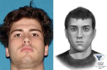 Colin Roy, 20, of Allentown, (left) was arrested and charged with assaulting an Uber driver in Monmouth County and police released a composite sketch of a second suspect on Tuesday. (New Jersey State Police/)