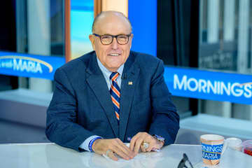 "Former New York City Mayor and attorney to President Donald Trump Rudy Giuliani visits ""Mornings With Maria"" with anchor Maria Bartiromo at Fox Business Network Studios in September, 2019 in New York City. - Roy Rochlin/Getty Images North America/TNS"