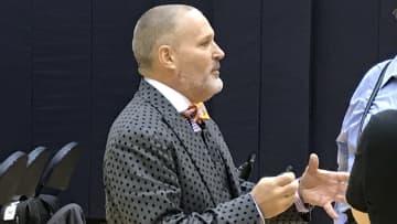NBA officiating chief Monty McCutchen speaks to the Miami Heat in Washington, D.C., on December 30, 2019. - Ira Winderman/Sun Sentinel/TNS