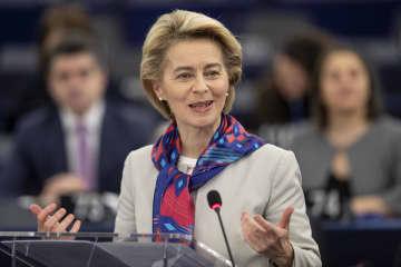 14日、欧州議会で演説するEUのフォンデアライエン欧州委員長=フランス・ストラスブール(AP=共同)