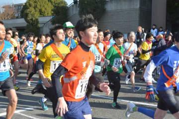 約600人が参加した大和市駅伝大会(市提供)