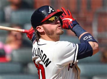 The Atlanta Braves' Josh Donaldson hits a three-run home run against the Colorado Rockies on April 28, 2019, at SunTrust Park in Atlanta. - Curtis Compton/Atlanta Journal-Constitution/TNS