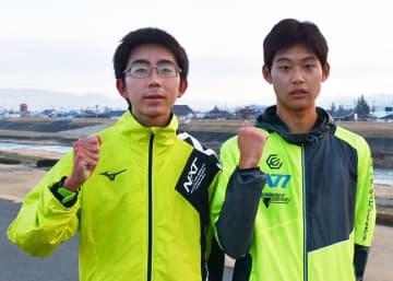 全国都道府県対抗男子駅伝競走大会に本県メンバーとしてエントリーされた一関学院高の武田選手(右)と鈴木選手