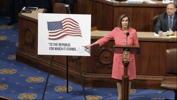 In this image from video, House Speaker Nancy Pelosi of Calif., speaks as the House of Representatives debates the impeachment managers resolution at the Capitol in Washington, Wednesday, Jan. 15, 2020. (House Television via AP) (The Associated Press /)