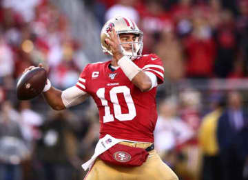 SANTA CLARA, CALIFORNIA - JANUARY 11: Jimmy Garoppolo #10 of the San Francisco 49ers attempts a pass against the Minnesota Vikings during the NFC Divisional Round Playoff game at Levi's Stadium on January 11, 2020 in Santa Clara, California