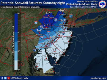Early snowfall projections for northern, western and central New Jersey, along with eastern Pennsylvania. (National Weather Service /)