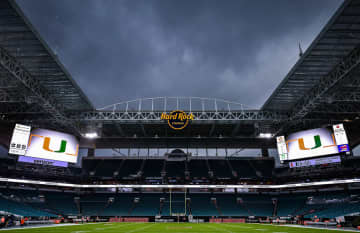 Hard Rock Stadium prior to a game between the University of Miami and the Virginia Cavaliers on October 11, 2019, in Miami Gardens, Fla. The Stadium will be home to this year's Super Bowl. - Mark Brown/Getty Images North America/TNS