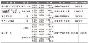 """舟橋文化スポーツクラブ""""バンドリー""""講座カレンダー1月"""