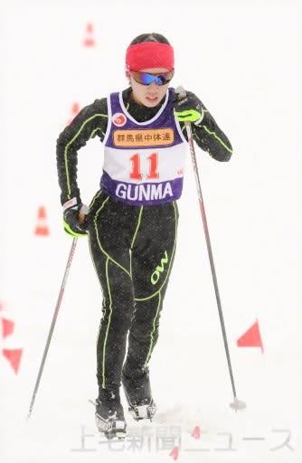 中学女子3キロクラシカル 1年生ながら頂点に立った高橋優(片品)=水上高原スキーリゾートクロスカントリーコース