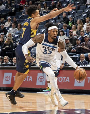 The Minnesota Timberwolves' Robert Covington (33) drives in the first quarter against the Indiana Pacers at Target Center in Minneapolis on Wednesday, Jan. 15, 2020. - Carlos Gonzalez/Minneapolis Star Tribune/TNS
