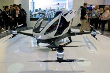 Ehang 184, the world's first electric passenger drone, at CES 2016. (Image credit: Flickr/Alex Butterfield)