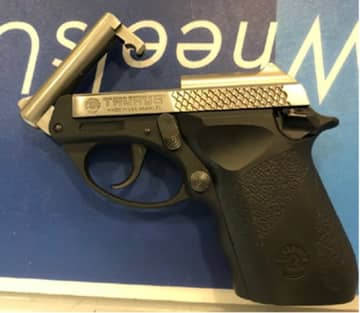 The .22 caliber handgun found in the backpack of a passenger on Wednesday, January 15, 2020 at Newark Liberty International Airport. He was arrested on gun charges. (TSA/)