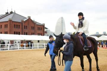 無料で乗馬を体験できるホースメッセ=横浜市中区
