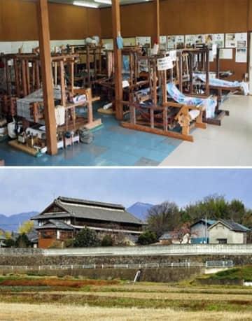 (上)高崎絹を生産するのに使われた織機など(県提供)、(下)近代蚕種製造の様相を伝える「塩原家住宅」(県提供)