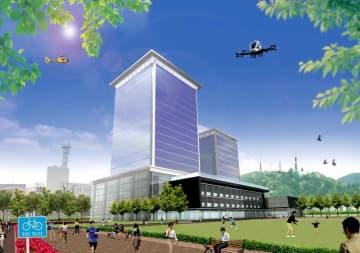福井県庁舎などの移転イメージ図。手前が新福井県庁舎、奥が新福井市庁舎
